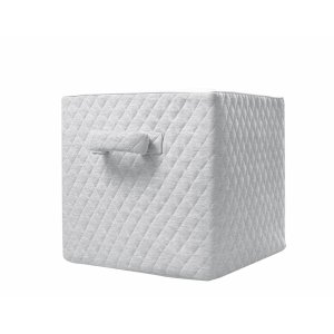 Quilted box with handle grey