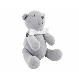 Decorative teddy bear grey with white bow
