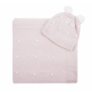 Knitted set with a pink blanket and a cap