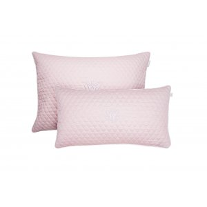 Quilted rectangular pillow baby pink with emblem