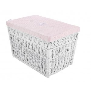 Wicker trunk quilted baby pink pillow