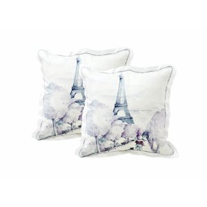 Pillow with girl and cat in Paris
