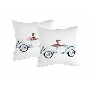 Pillow with boy in car