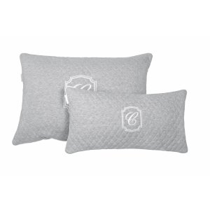 Cambridge quilted rectangular pillows with emblem