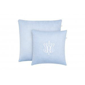 Azure pillows in zigzag with emblem