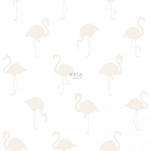 White wallpaper with beige flamingos