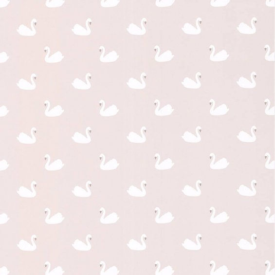 Beige wallpaper with swans