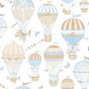 Wallpaper in beige and blue balloons