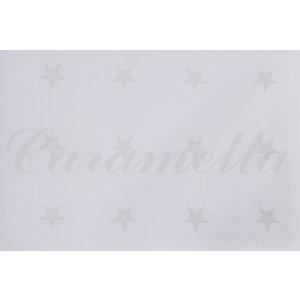 White wallpaper with small beige stars