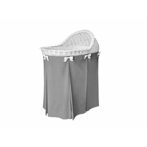 Mobile wicker bassinet with dark grey skirt