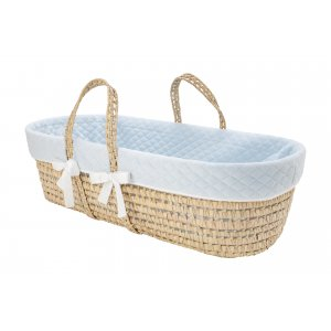 Blue quilted moses' basket