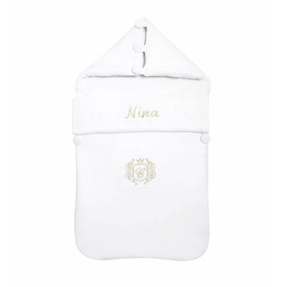 Customized white sleeping bag with an emblem