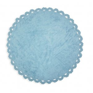 Round azure rug with crochet