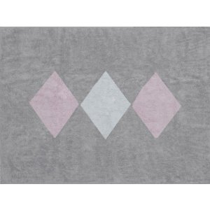 Gray rug with pink and white rhombuses