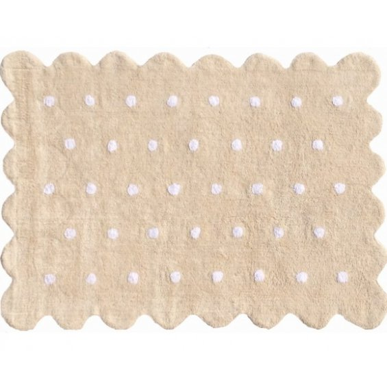 beige cookie rug with dots