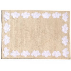 Beige rug with white clouds