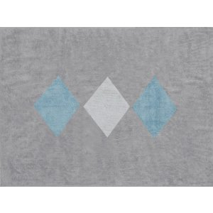Gray rug with white and blue diamonds