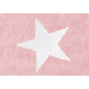 Pink rug with white star