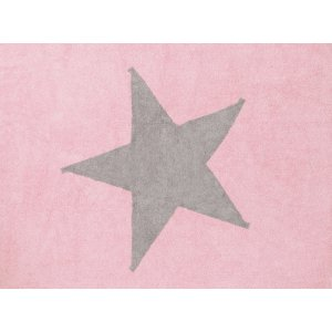 Pink rug with light grey star