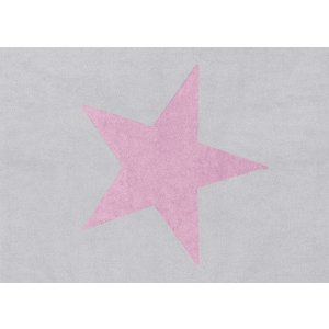 Light grey rug with pink star