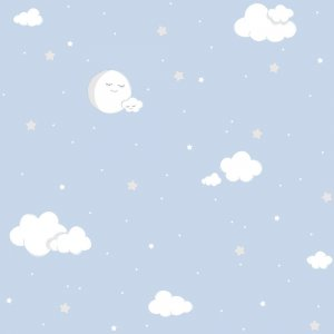 Wallpaper with clouds and blue moons