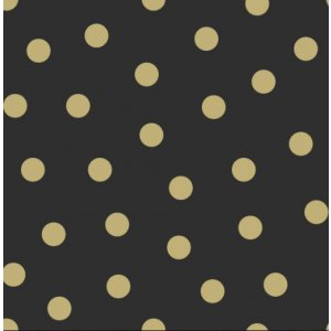Black wallpaper with golden polka dots