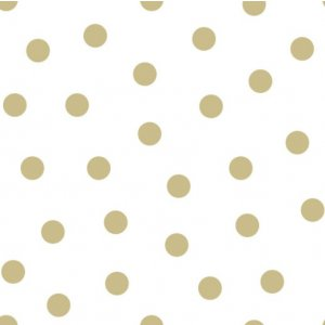 White wallpaper with golden polka dots