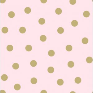 Pink wallpaper with golden polka dots
