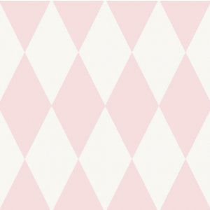 White wallpaper with pink rhombus