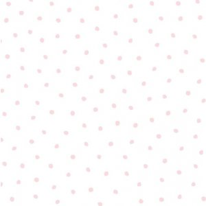White wallpaper with little pink polka dots