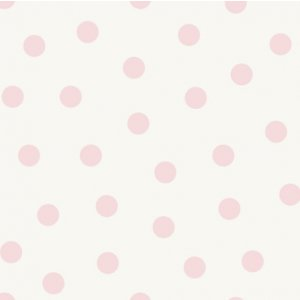 White wallpaper with pink polka dots