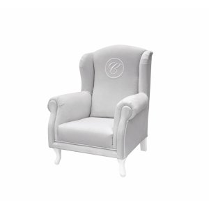 Grey mini armchair with emblem