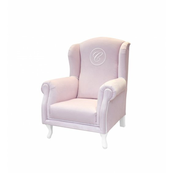Baby pink mini armchair with emblem