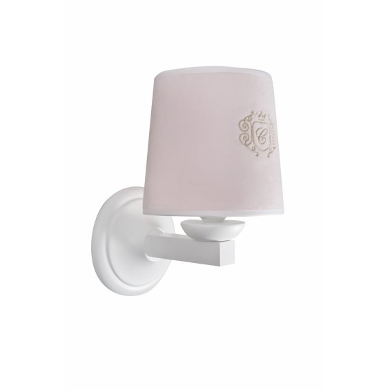 Baby pink sconce with gold emblem