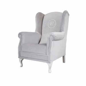 Grey armchair with emblem