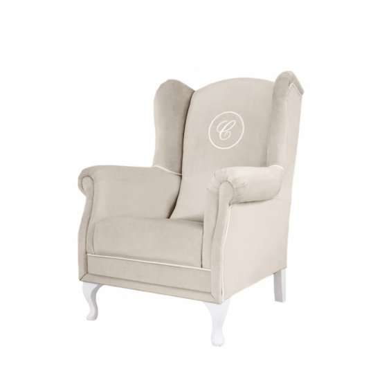 Beige armchair beige with emblem