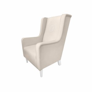 Armchair Modern beige with emblem