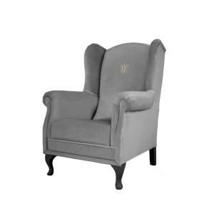 Anthracite armchair with an emblem