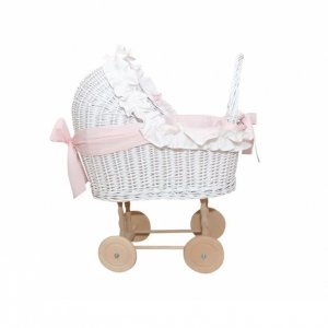 Small wicker trolley baby pink