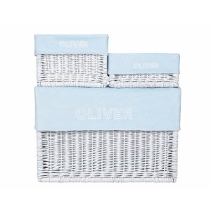 Customized white wicker box with baby blue line