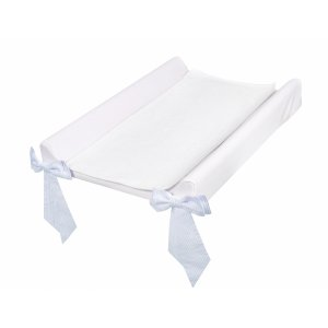 Baby changing station with azure bows