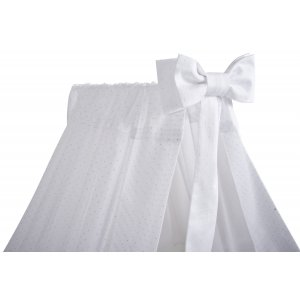 White standing canopy with bow, fabric with silver dots