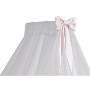 White standing canopy with a baby pink bow