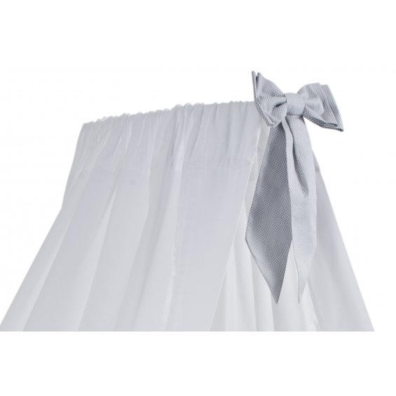 White standing canopy with light grey bow