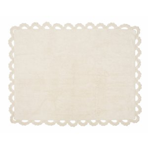 Beige rug with crochet