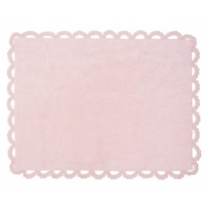 Pink rug with crochet