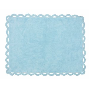 Blue rug with crochet