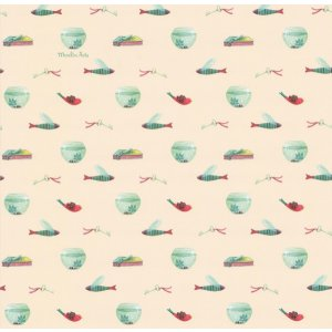 Beige wallpaper with fish Les Petits Curieux