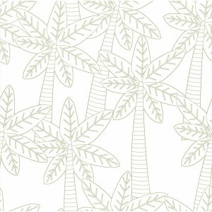 White wallpaper with palms Les Petits Curieux