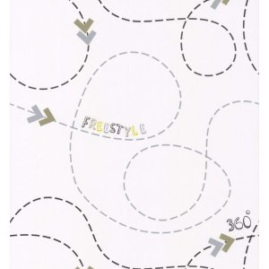 White wallpaper with zigzags Les Petits Curieux